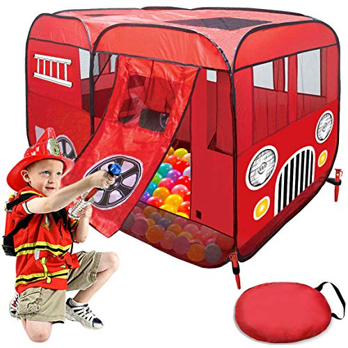 Play Tent for Kids Fire Truck Pop Up Playhouse Red (with Step) for Boys Girls or Pet Use...