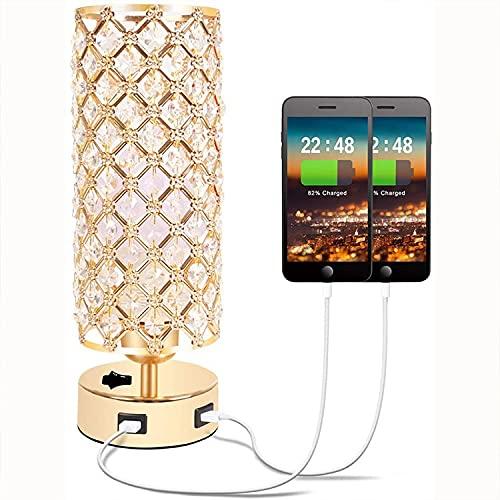 Moderne Minimalistische Luxuskreativ, Basisschalter Dual-Port-USB-Ladekristall-Tischlampe Tischlampe Tischlampe Schlafzimmer Nacht LED Energiesparlampe