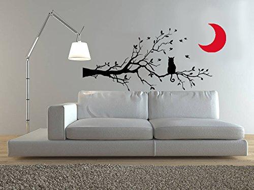 Vinyle décoratif Cat Moon Branch. (120 x 60 cm et 30 x 30 cm. Env.) couleur Noir et rouge.