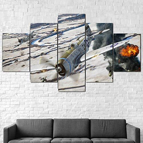 5 Piezas De Lienzo De Arte De Pared,5 Piezas Lienzo Aeronave Republic P-47 Thunderbolt,5 Piezas Cuadro Lienzo,Cuadros Decoracion Salon 5 Piezas Cuadro Moderno Xxl,5 Piezas Cuadro Sobre Lienzo 150X80Cm