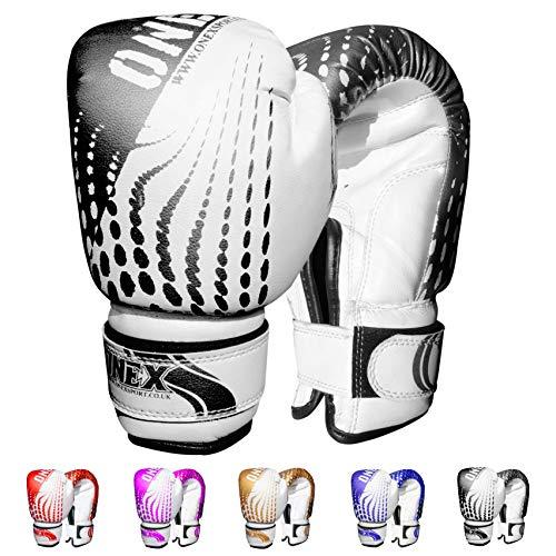 ONEX Boxhandschuhe für Kinder Boxing Gloves Training Sparring Kickboxen Sand Sack Junior/Kids Kickboxhandschuhe Kampfsport MMA und Boxen mit optimaler Schlagdämpfung 6oz (Schwarz)