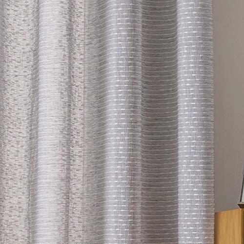 Viste tu hogar Pack 2 Cortina Decorativa Semitranslucida con Hilo de Cáñamo, Estilo Simple y Elegante, para Salón o Habitación, 2 Piezas, 150X260 CM, Diseño Simple y Clásico, en Color Gris.