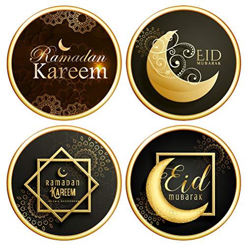 ABOOFAN 4 Piezas Eid musulmán Ramadán Pegatinas Autoadhesivas de Sellado Pegatinas de Pared Accesorios de Fiesta
