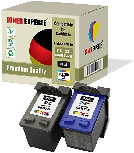 2 XL TONER EXPERTE® Druckerpatronen kompatibel für HP 21XL 22XL Deskjet 3940, F2180, F2280, F380, F4180, D1460, D1530, D2360, D2460, Officejet 4315, PSC 1410 (Schwarz, Farbe)