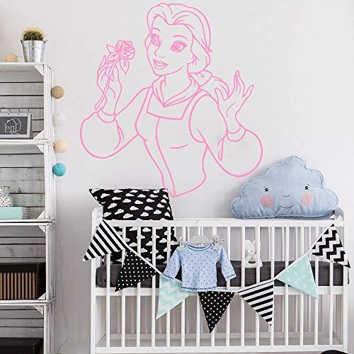 hetingyue Wandkunst Aufkleber Mädchen und Monster Prinzessin Schönheit Kunst Vinyl Aufkleber Cartoon Familie Dekoration Kinder Mädchen Raumdekoration 75x82cm