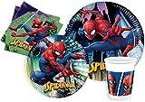 Ciao Y4620 Kit Fiesta Mesa Spider-Man Team-Up para 8 personas (44 piezas Ø23cm, 8 placas Ø20cm, 8 vasos de plástico 200ml, 20 servilletas de papel 33x33cm), Multicolor, S
