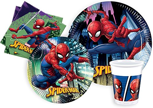 Ciao- Kit Mesa Fiesta Party Marvel Spider-Man Team-Up para 8 personas (44 piezas: 8 platos de papel Ø23cm, 8 platos de papel Ø20cm, 8 vasos de plastico 200ml, 20 servilletas de papel 33x33cm), Y4620