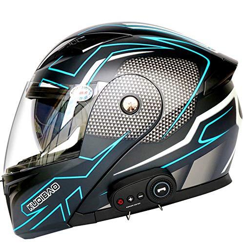 SHXP Bluetooth Motocicleta Integrada Cascos Cara Completa Flip Up Modular con Visores Dual Motorcross Cascos Incorporados