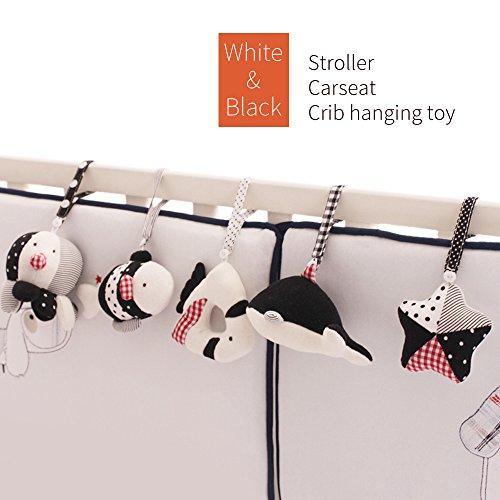 Zoo Animals SHILOH Baby Crib Stroller Carseat Decoration 5PCS White /& Black