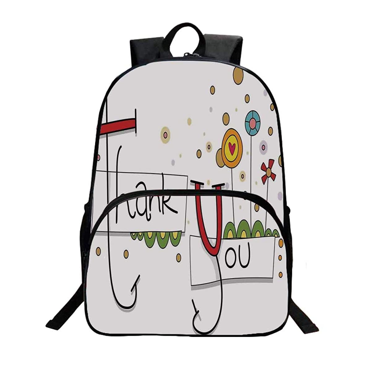 Graphic Art Fashionable Backpack,Fun Thank You Typography with Abstract Cartoon Style Flowers Hearts and Dots for Boys,11.8