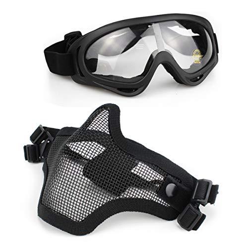 Aoutacc Airsoft Maske und Goggles Set, Half Face Full Steel Mesh Maske und Schutzbrillen für CS/Jagd/Paintball/Schießen (Schwarze Maske)