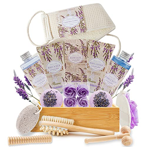 Luxury Mothers Day Gifts Baskets in Lavender Essential, Christmas...