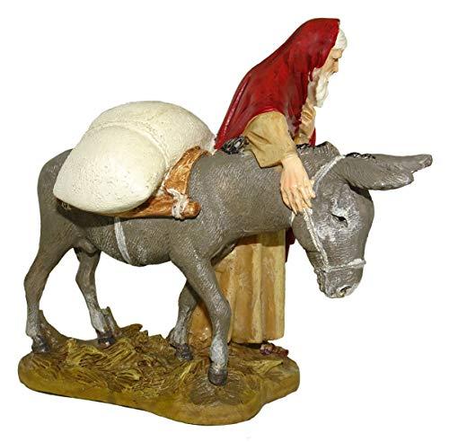 Ferrari & Arrighetti Figuras Belén: Pastor con Burro colección Martino Landi para Nacimiento de 12 cm