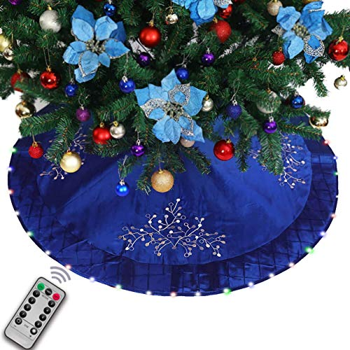 Halo Christmas tree skirt with Programmable LED Lights – 50' Blue Quilted Satin & Silver Holly Embroidery
