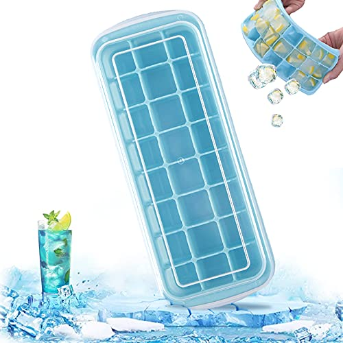Ealicere 1Stück 24-Fach Silikon Eiswürfelform,Blau Eiswürfelform mit Deckel Platzsparend und Quadratische Eiswürfelschalen einfach Herauszunehmen,für Cocktail, Whisky, Getränke, Saft,usw