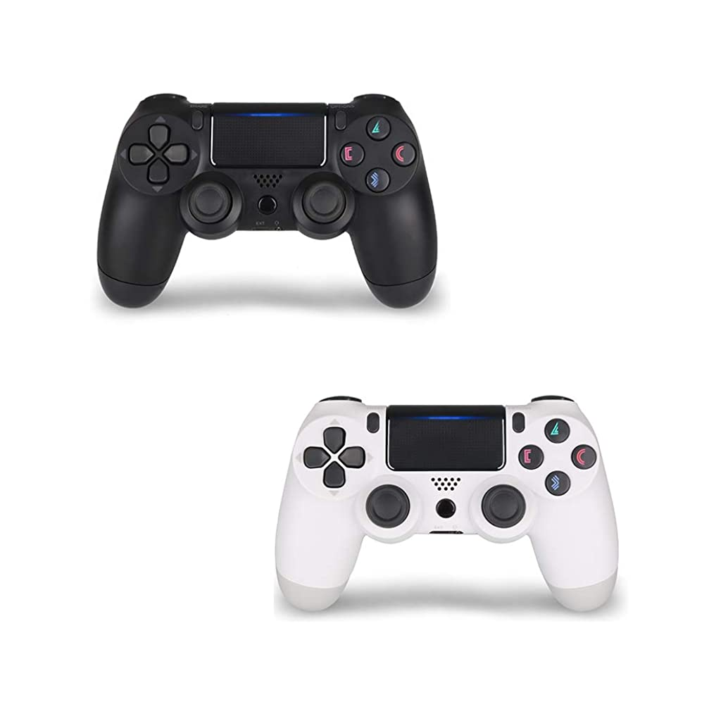2 Pack PS4 Controller,DualShock 4 Wireless Controller for Playstation 4 (Black+White)