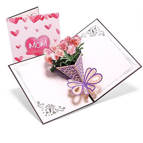 ASANMU Karte zum Muttertag Geburtstagskarte für die Mama Muttertagskarte mit 3D Pop-Up Blumen Muttertagsgeschenk originelle Dankeskarte Mutter Geburtstagskarte Glückwunschkarte für Frauen, Freundin