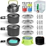 Odoland Multi-PCS Kit de Casseroles Camping, Cookware Kit Durable et Compact avec réservoir d'eau pliable 12L...