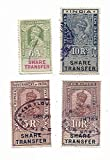 IHC ~ British India ( 10 Rupee x 2 , 5 Rupee & 8 Annas ) 4 Different ( Share Transfer Stamps ) ( 100% Orignal )