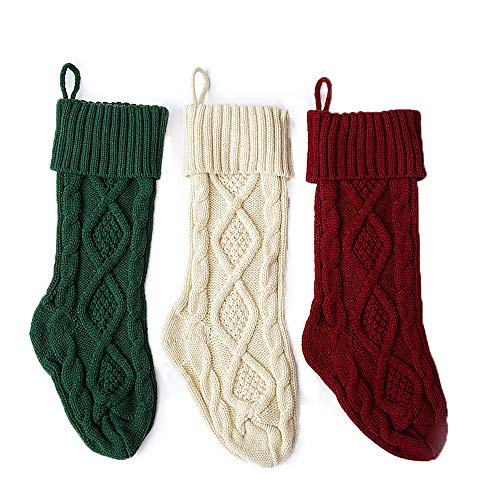 Aicos Alacos Christmas Knit Stockings, 3 Pack, Red White Green Gift Socks Holders (18')