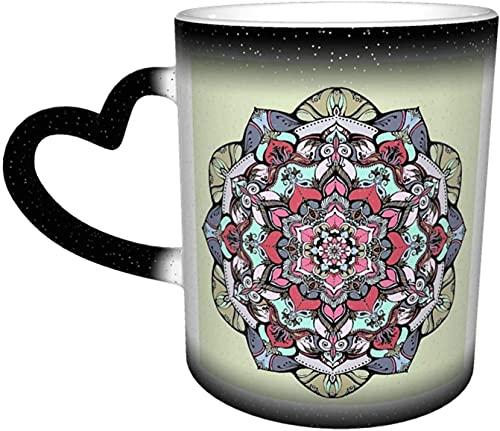 Tazas de café Flores Mandala Taza que cambia de color sensible al calor en el cielo Taza de cerámica Regalos personalizados para amantes de la familia Amigos