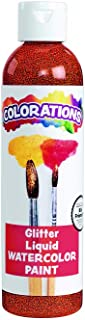 Colorations Liquid Glitter Watercolor Paint, 8 fl oz, Orange, Non-Toxic, Painting, Kids, Craft, Hobby, Fun, Water Color, Posters, Cool Effects, Versatile, Gift (Item # GLWCOR)