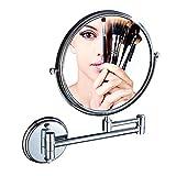 Miroir De Maquillage 6 Pouces / 8 Pouces _ Miroir De Salle De Bains En Cuivre Tournant Miroir Beauté Pliant Double Face 3 Fois Grossissement Tenture Murale Miroir Grossissant@Lumineux 8 Pouces_Ins