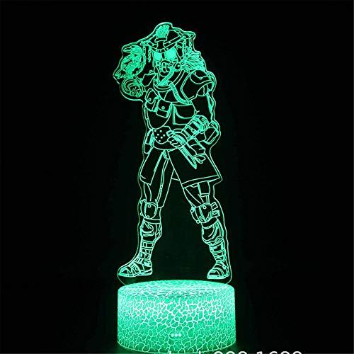 Lámpara de ilusión 3D, regalo de Navidad, luz nocturna APEX Legends st.huberthound, 16 colores, control táctil regulable con base de grieta+mando a distancia para niños y niñas