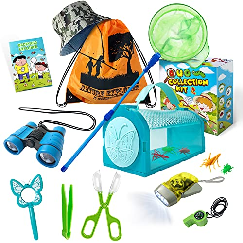 ESSENSON Bug Catcher Kit - Toy Gift for Age 3 4 5 6 7 8+ Years Old Boys Girls Kids Outdoor Explorer Kit with Bug House, Binoculars, Magnifying Glass, Butterfly Net, Camping, Adventure