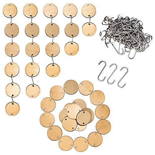 BELLE VOUS Holzscheiben (100 Stück) mit S-Form Haken (100 Stück) - 3,5cm Durchmesser & 3mm Dick Natur Holz Kreise Anhänger mit 2 Löchern fur DIY Bastel, Hochzeitsdeko, Geschenkanhänger