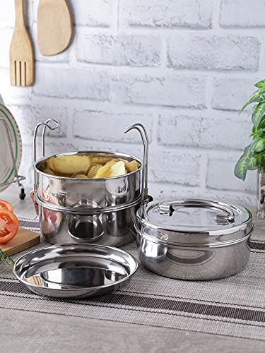 Neelam Stainless Steel Clip Carrier Lunch Box, 3 Containers, 2150 ml; Size 9 x 3