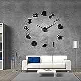 BBNNN Schneiderei DIY Riesen Wanduhr Schneiderin Needlecraft Näherin Schaufensterpuppe Nähmaschine Nadelstange Große Uhr Wanduhr37inch