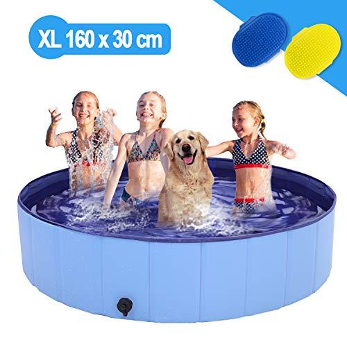 Richino Hundepool Schwimmbad für Hunde,Faltbare Hund Planschbecken,Swimmingpool 160 x 30 cm, Schwimmbecken Hundebadewanne Pool Badewanne Wasserbecken, Klappbares Haustier-Duschbecken