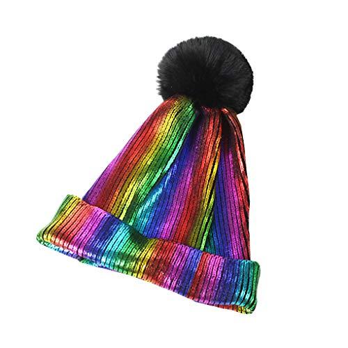 teng hong hui Las Mujeres de la Gorrita Tejida de Punto señoras de Invierno Gorro Caliente-custodia del Ciclo al Aire Libre de Senderismo de Invierno Hip Hop Sombrero, Color del Arco Iris