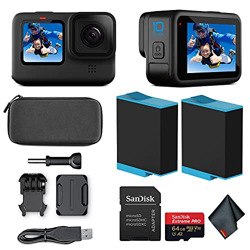 GoPro HERO10 (Hero 10) Black - Waterproof Action Camera with Front LCD and Touch Rear Screens, GP2 Engine, 5K HD Video, 23MP Photos, Live Streaming, 64GB Extreme Pro Card and Extra Battery