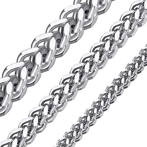 ChainsHouse Edelstahl Franco Kette Silber Kette mit Geschenkebox und Schmuckbeutel für Herren und Männer