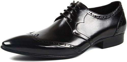 Pour des hommes Affaires Chaussures Robe Derby Pointu Toe Lacets en Cuir Chaussure De Mariage Uniforme Vintage Bureau Chaussures D'été