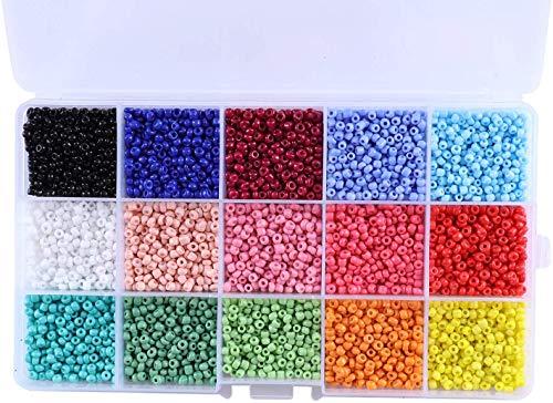FLZONE 7500 stücke 15 Farbe Runde Glas Rocailles,3mm Mini Glasperlen, Mischfarben Klein Ponyperlen fürs Sicken, Armbänder, Halsketten und Schmuck Basteln