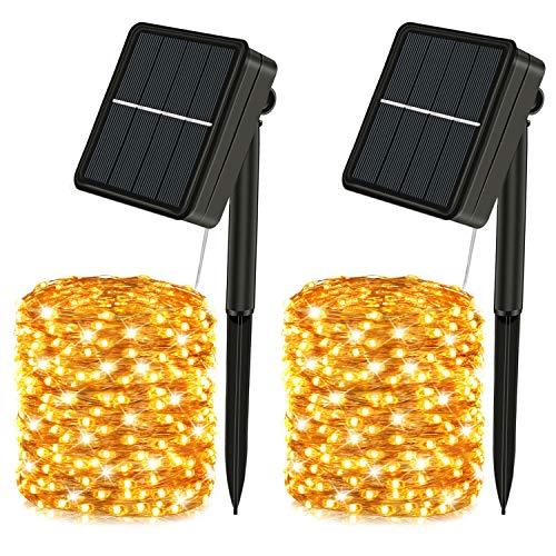 Solar LED Lichterkette Außen, 12M 120 LEDs Lichterkette aussen warmweiß, 8 Modi, Solar Lichterketten als Deko für Garten Balkon, Party, wasserdicht, 2 Pack