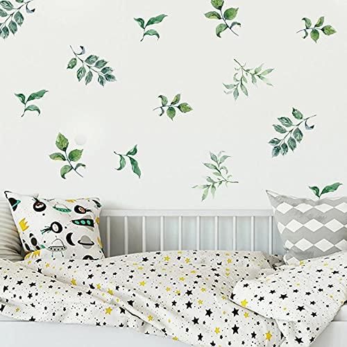 3 unids/set pegatinas de pared de hoja verde para sala de estar dormitorio puerta decorativa extraíble DIY vinilo pared calcomanías decoración del hogar arte murales