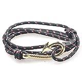 Modisches Armband im nautischen Stil, eine Vielzahl von Stilen sind erhältlich, Unisex-Armband im Marine-Stil, geflochtenes Armband mit Angelhaken, schwarz, rot und weiß