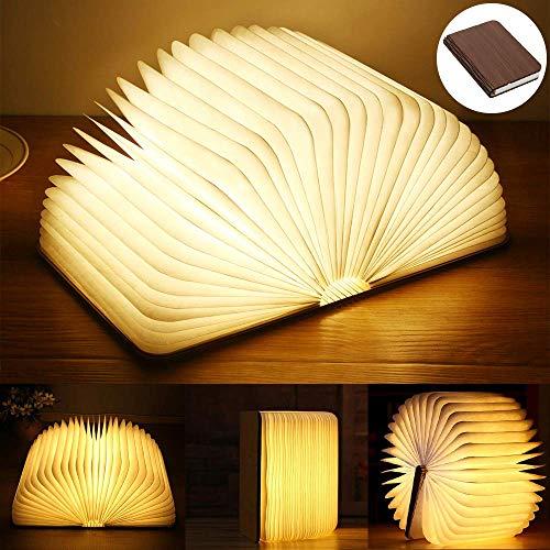 Preisvergleich Produktbild Yuanj Buchlampe USB wiederaufladbar Lampe in Buchform LED-Licht aus Holz,  dekorative Tischlampe -2500 mAh groß