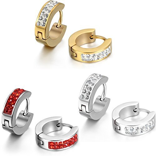 Jewelrywe Gioielli Orecchini da Uomo Donna, Orecchini a Cerchio, Acciaio Inossidabile e Strass, Argento Oro (con Borsa Regalo)