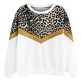 KIMODO Damen Pullover Lange Ärmel Tops Mode Leopardenmuster Patchwork Sweatshirt Frauen Casual...