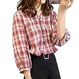 [スカイシイ] ギンガムチェック tシャツレディース半袖 tシャツレディース長袖 tシャツレディース半袖ゆったり tシャツ tシャツレディース白 白ブラウス おしゃれブラウス オシャレブラウスレディース ロンtシャツ ロングシャツ ロングスリーブtシャツ vネックニット vネックブラウス vネックシャツレディース カジュアルシャツ おしゃれジャケット レッド M