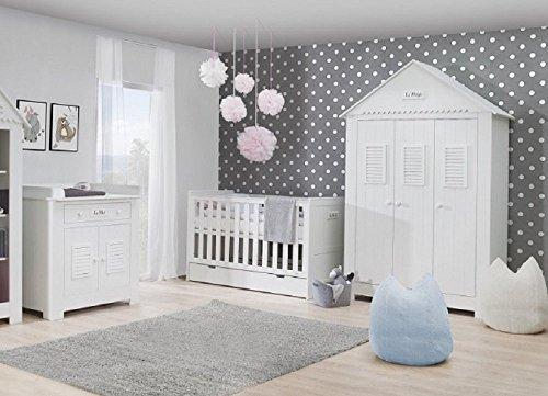 Babyzimmer Kinderzimmer SAINT-TROPEZ weiß MDF, Komplettset C, Bett Schrank Kommode