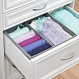 mDesign Stoffbox für Schrank oder Schublade, 2 Fächer – die ideale Aufbewahrungsbox (Stoff) – flexibel verwendbare Stoffkiste – Farbe: grau - 4