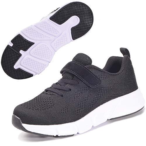 Zapatillas Deportivas para Niños Ligeras Zapatillas de Correr Niñas Calzado de Deporte Zapatillas de Running Sneakers Negro 27