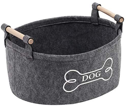 Morezi - Cubo de fieltro para perro con mango de madera, organizador de cesta de almacenamiento - perfecto para organizar juguetes de mascotas, mantas, correas, chaleco y ropa