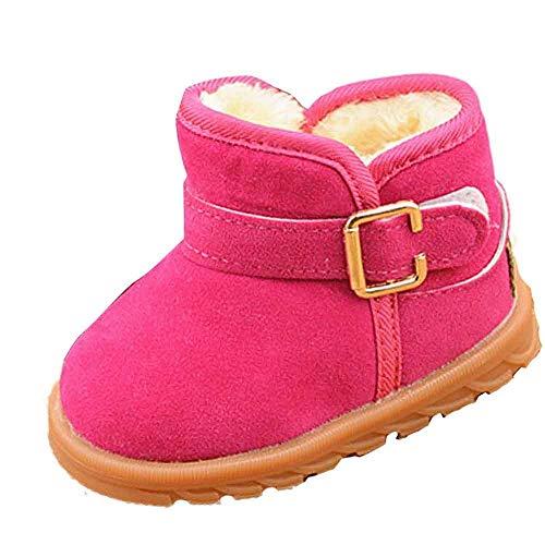 KUDICO Mädchen Jungen Baby Stiefel Winter Warme Plüsch Gefüttert Warm Hüttenschuhe Kuschelige Indoor Outdoor Pantoffeln Schuhe Schlupfstiefel (Hot Pink, 28 EU/4.5-5 Jahre)